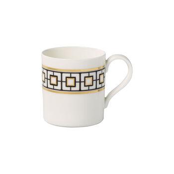 MetroChic Kaffeebecher, 11 x 8 x 9 cm, Weiß-Schwarz-Gold