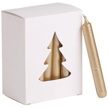 Essentials Kerzen Baumkerzen gold Set 24 8x10,5x5,5cm