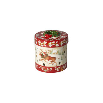 Christmas Toy's kleines rundes Geschenkpaket, rot/bunt, 9,5 cm
