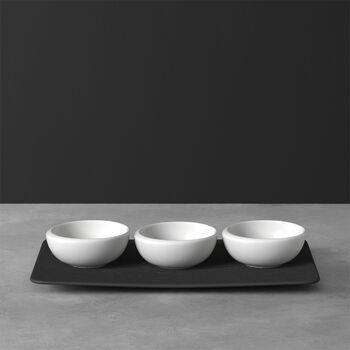 NewMoon Dipschälchen-Set, 4-teilig, Weiß/Schiefer