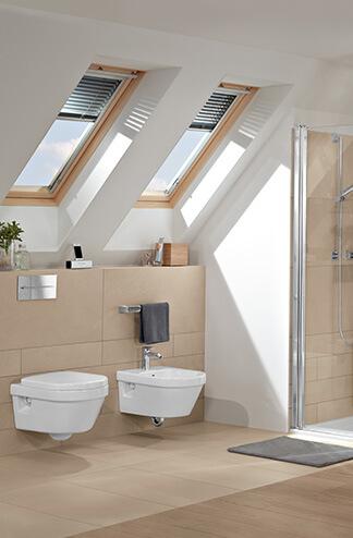 Bad Mit Dachschräge Raumlösung Subway Toilette Und Bidet Villeroy U0026 Boch