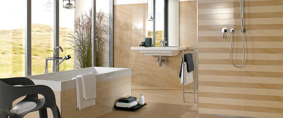 bad fliesen creme braun begehbare dusche holz waschtisch ... - Dusche Fliesen Modern