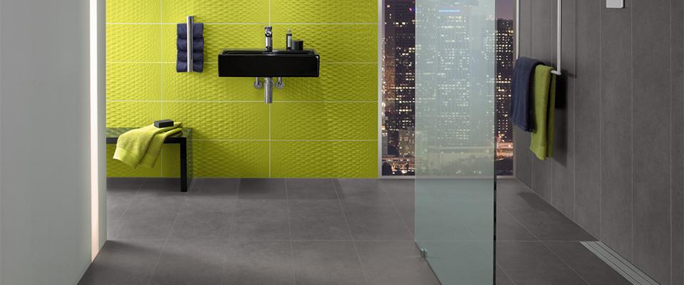 Akzente mit farbigen fliesen for Moderne wc fliesen