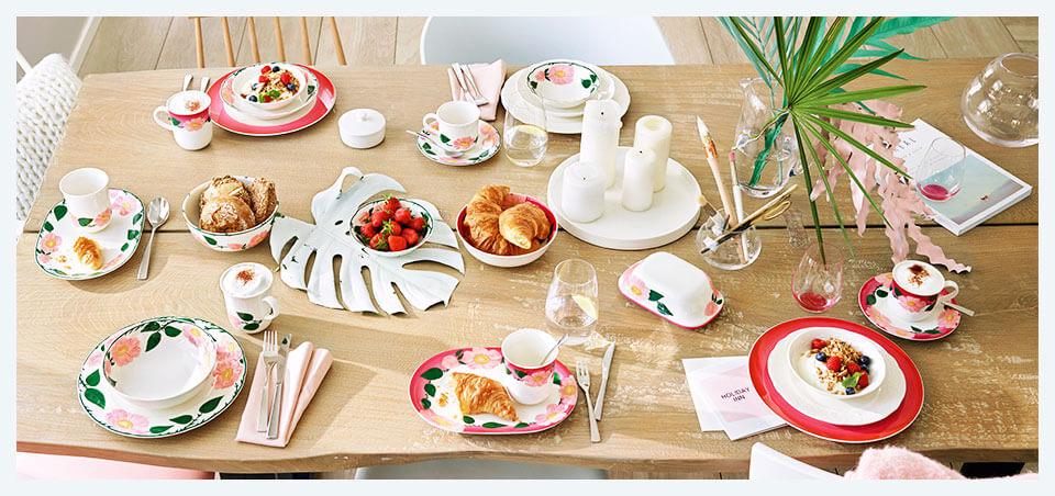 Butterdose 2-teilig weiss Premium Porzellan V/&B Rose Sauvage Buttercloche 2 tlg